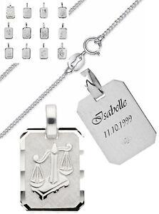 Details zu Silber Sternzeichen Anhänger 925 + Kette und Gravur nach Wunsch Echtsilber