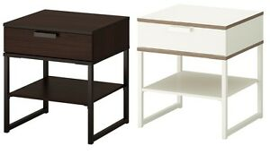 Ikea Trysil Bedside End Table With Drawer White Brown Two