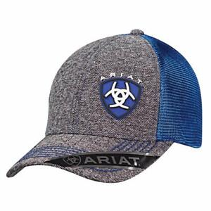 52f45b020bb37 Ariat Mens Hat Baseball Cap Mesh Snap Back Shield Logo Grey Tweed ...