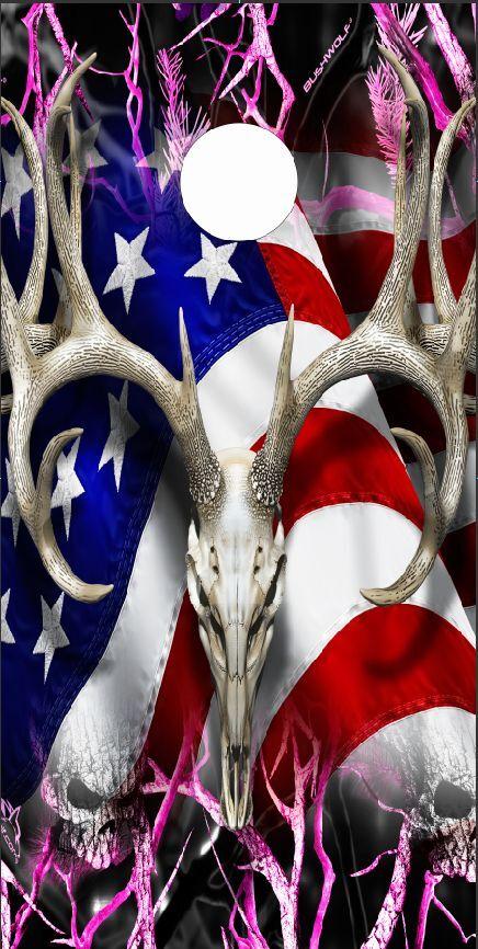 American Deer Oblit Skull Pink Camo LAMINATED Cornhole Wrap Bag Toss Skin Decal