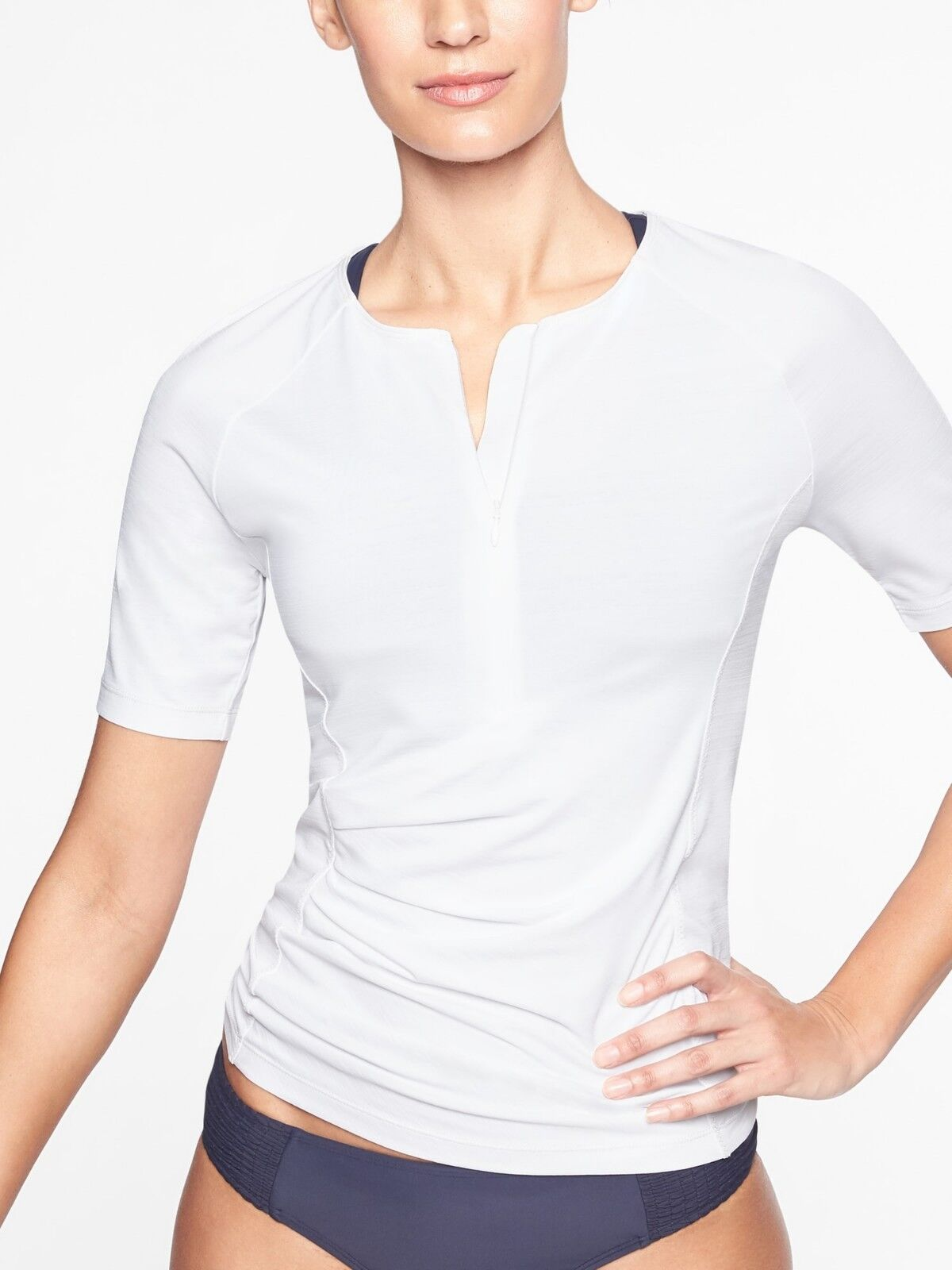 NWT Athleta Pacifica Wrap Front Tee White  SIZE SP S P      E930