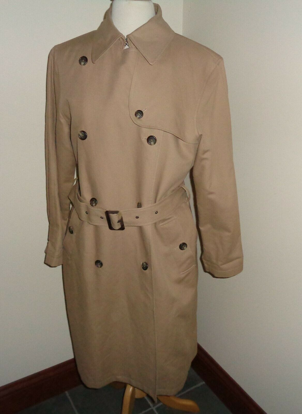 Lauren Ralph Lauren pour Femme L marron clair double boutonnage Trench Coat Manteau de pluie Spy Manteau