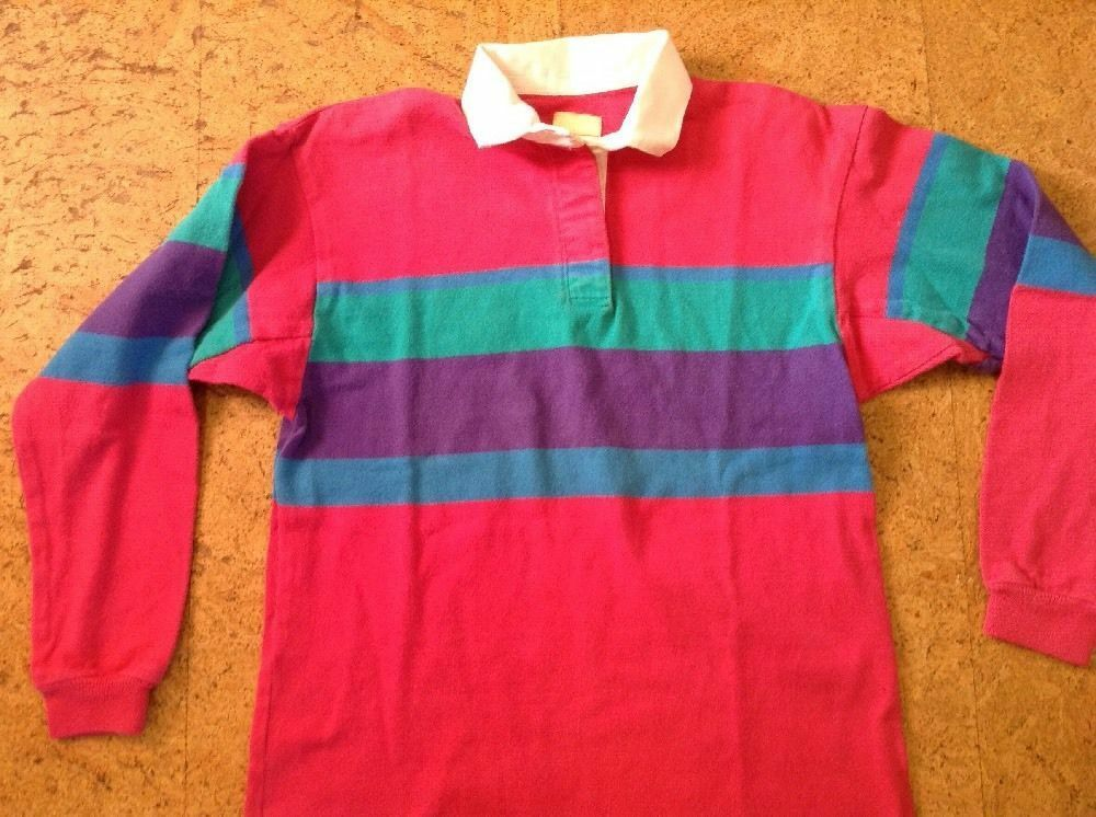 Vintage L.L. Bean Long Sleeve Rugby Polo Shirt Sz. M 100% Cotton. Made in USA