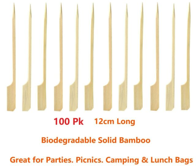 Bamboo Catering Paddle Skewers Sticks BBQ Grill Cocktail Finger Food Party Kebab