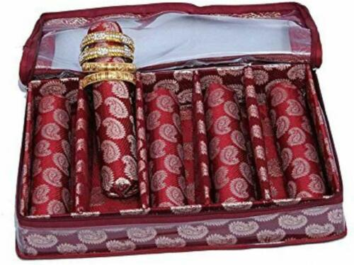 5 Roll Brocade Bangle Packaging Box with Hard Board Support Set of 2 Pcs Maroon