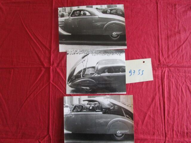 N°9755 /  PEUGEOT : 3  photographies 402 coupé transformable  1935-1937