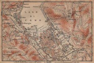 COMO town city plan and environs. San Giorgio Brunate. Italy mappa 1903