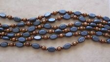 """16"""" Strand Blue Sponge Coral Thick Puffed Oval & Wood Round Beads 6mm-18mm"""