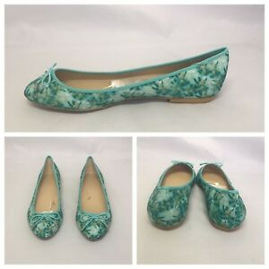 Ballerina Flats Green Uk Shoes Printed With Zara Blu Bow 7 Size qnYtww1f