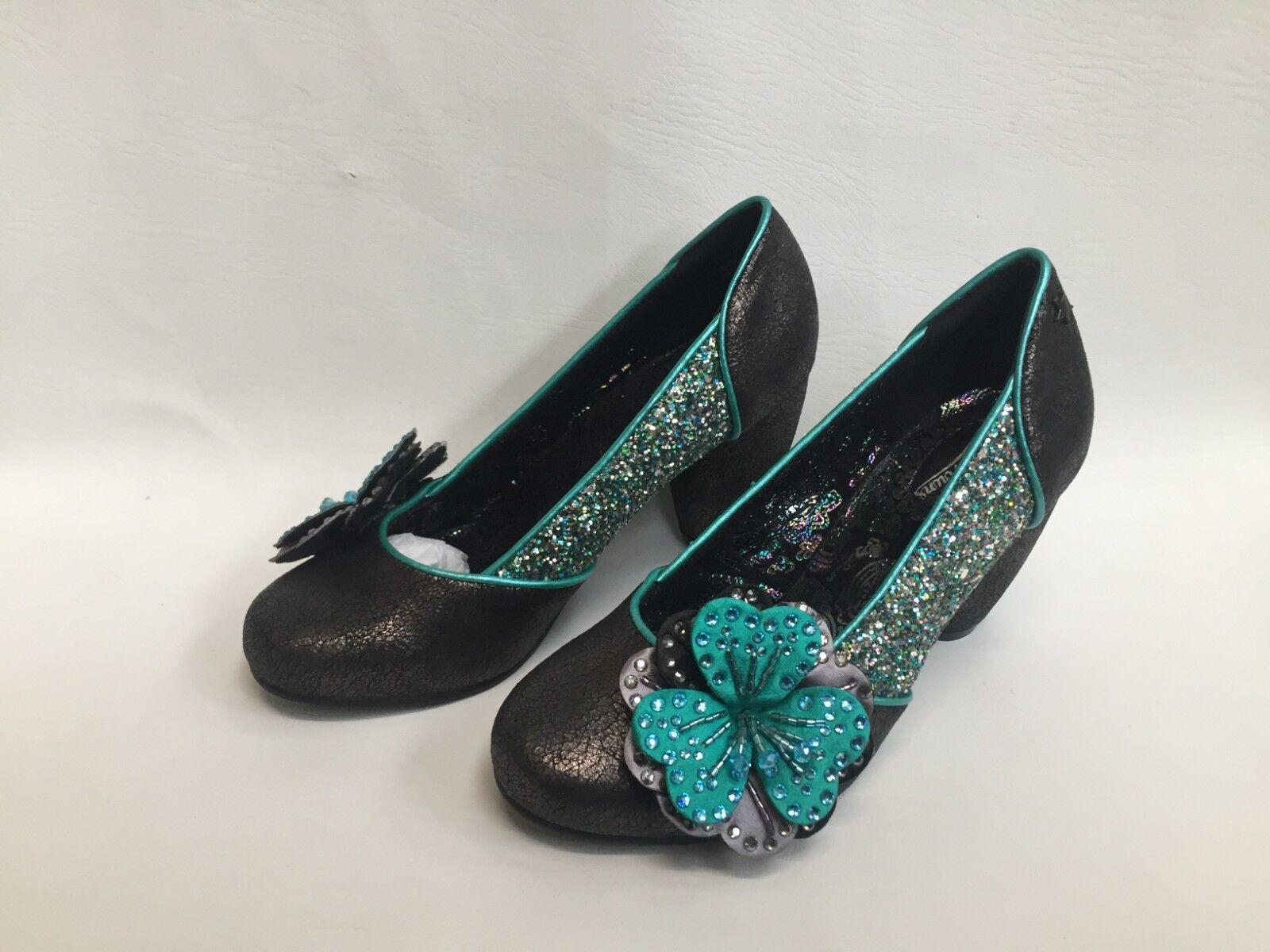 NUOVO Donna Joe Marronees Couture verde Acqua Glitter & Shimmer Floreale. TG