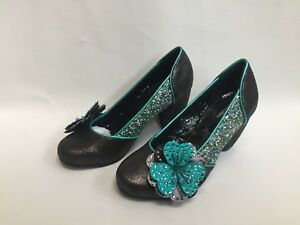 Uk Teal Schuhe GlitterSchimmernde Damen Couture Blumen Joe 4 Browns Court Neue uJlF5c3TK1