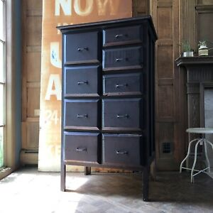 Details about Antique Railroad Drawer Unit, Industrial Apothecary Cabinet  Antique Wood Dresser