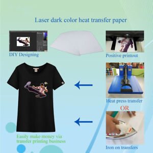 Details about 10Sheets T-Shirt A4 Iron On Inkjet Heat Transfer Paper For  Dark color Fabrics