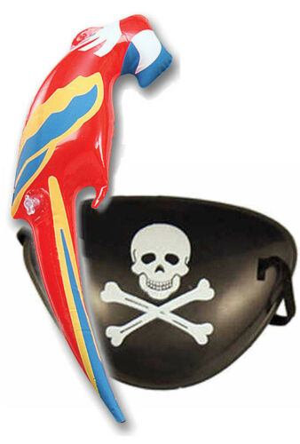 Pirate Eye Patch /& Inflatable Parrot Parot Fancy Dress Boys /& Adult Costume
