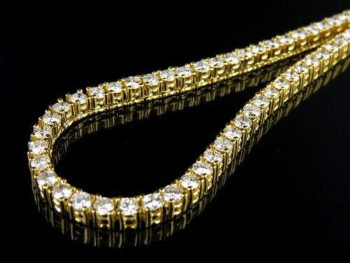 """Una Fila Iced collar chapado en oro 30/"""" Cadena de Tenis Bling Brillo Joyería Reino Unido"""
