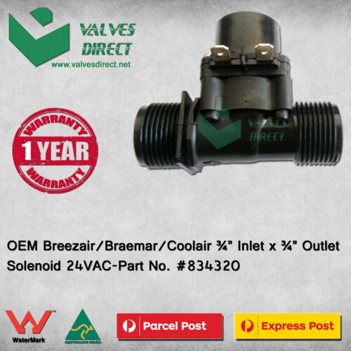 """OEM Breezair//Braemar//Coolair 3//4/"""" Inlet x 3//4/"""" Outlet Solenoid 24VAC #834320"""