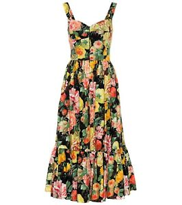 2445-Dolce-amp-Gabbana-AUTH-Mixed-Floral-Sweetheart-Bodice-Tiered-Poplin-Dress-46