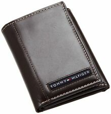 NEW TOMMY HILFIGER CAMBRIDGE CREDIT CARD CASE TRIFOLD MEN'S BROWN LEATHER WALLET