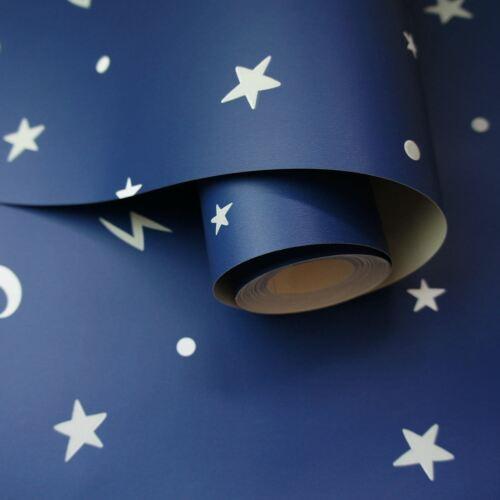 Over the Rainbow Stars Moons Glow in the Dark Wallpaper Navy Bedroom  90982
