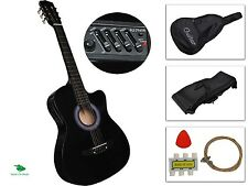 "Kit Guitarra Electroacustica 38"" Black Electro Acoustic Guitar Combo Cutaway Typ"