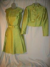 Vintage Lime Green Raw Silk Dress & Bolero Jacket Crown Colony of Hong Kong (s)