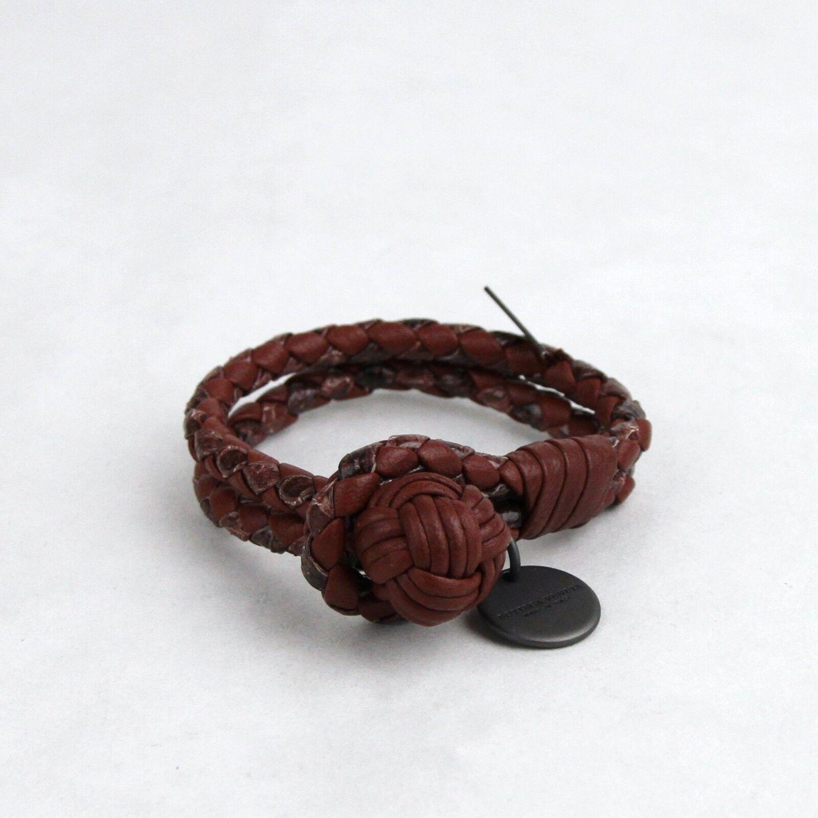 New Bottega Veneta Reddish Brown Snake Leather Braided Bracelet XS 113546 2217