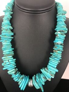 Native-American-Navajo-Pearl-Sterling-Silver-Turquoise-Nugget-Necklace-20-034