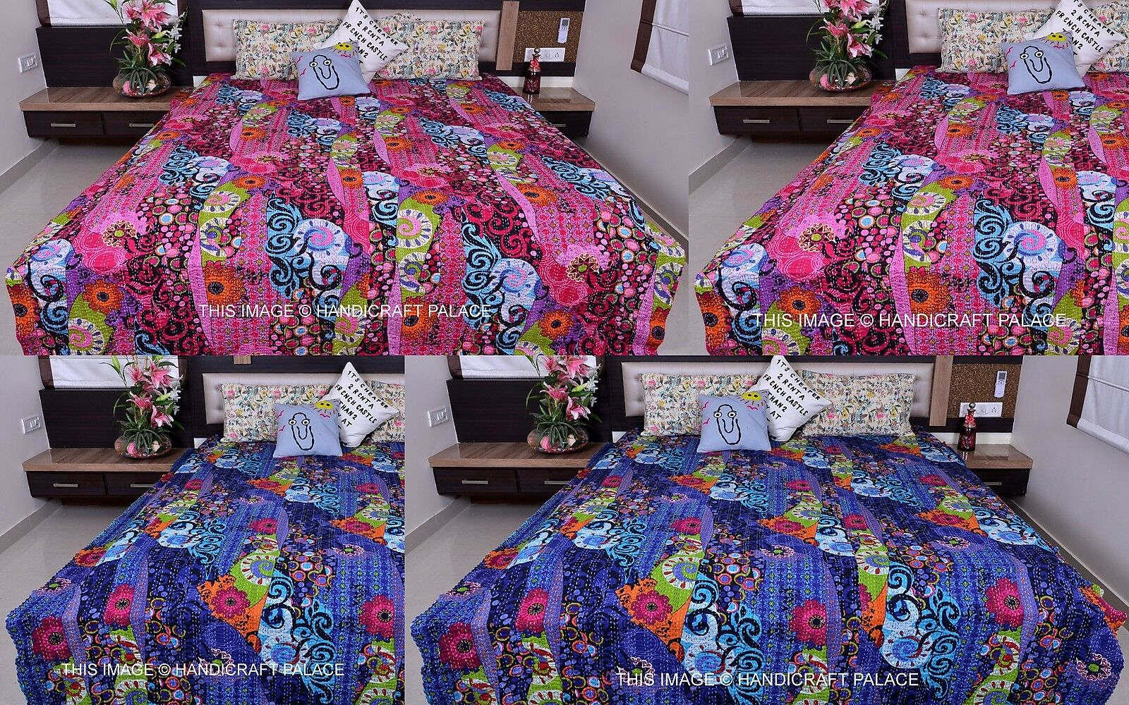 Indian Reversible Kantha Quilt Bedspread Queen Blanket Handmade Bedding Quilts