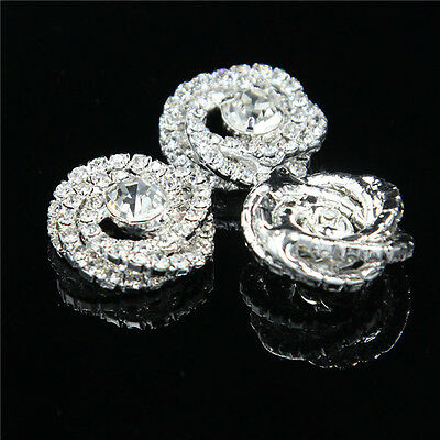 4Pcs Clear Crystal Rhinestone Stunning Shank Buttons 22mm Sewing Craft