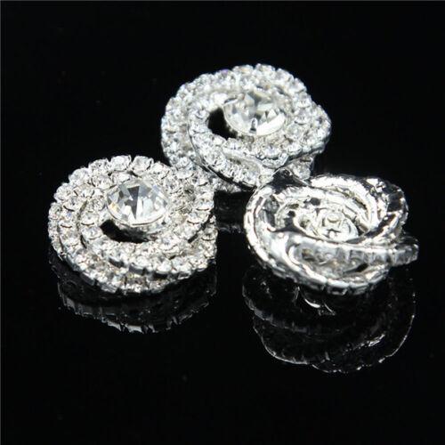 Silber Kristall Knöpfe Ein Loch Nähen Strass Knopf Best Handwerk Dekor 4 Stück