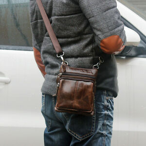 Image is loading Genuine-Leather-Mens-Small-Crossbody-Satchel-Shoulder-Bag- bc0a191dbb7c3