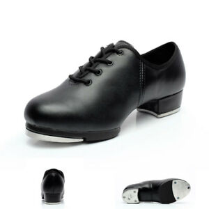 New-Genuine-Leather-Adult-Kids-Women-Men-Tap-Dancing-Shoes-Lace-Up-Square-Heel