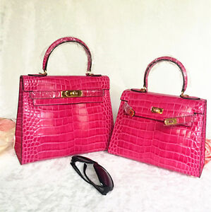 Image is loading House-of-Hello-FULL-Crocodile-Embossed-RED-Leather- bb2ac4d0dbd13
