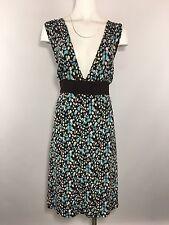Lane Bryant Tea Dress Plus Size 22 24 Deep V Princess Blue Brown Floral Sundress