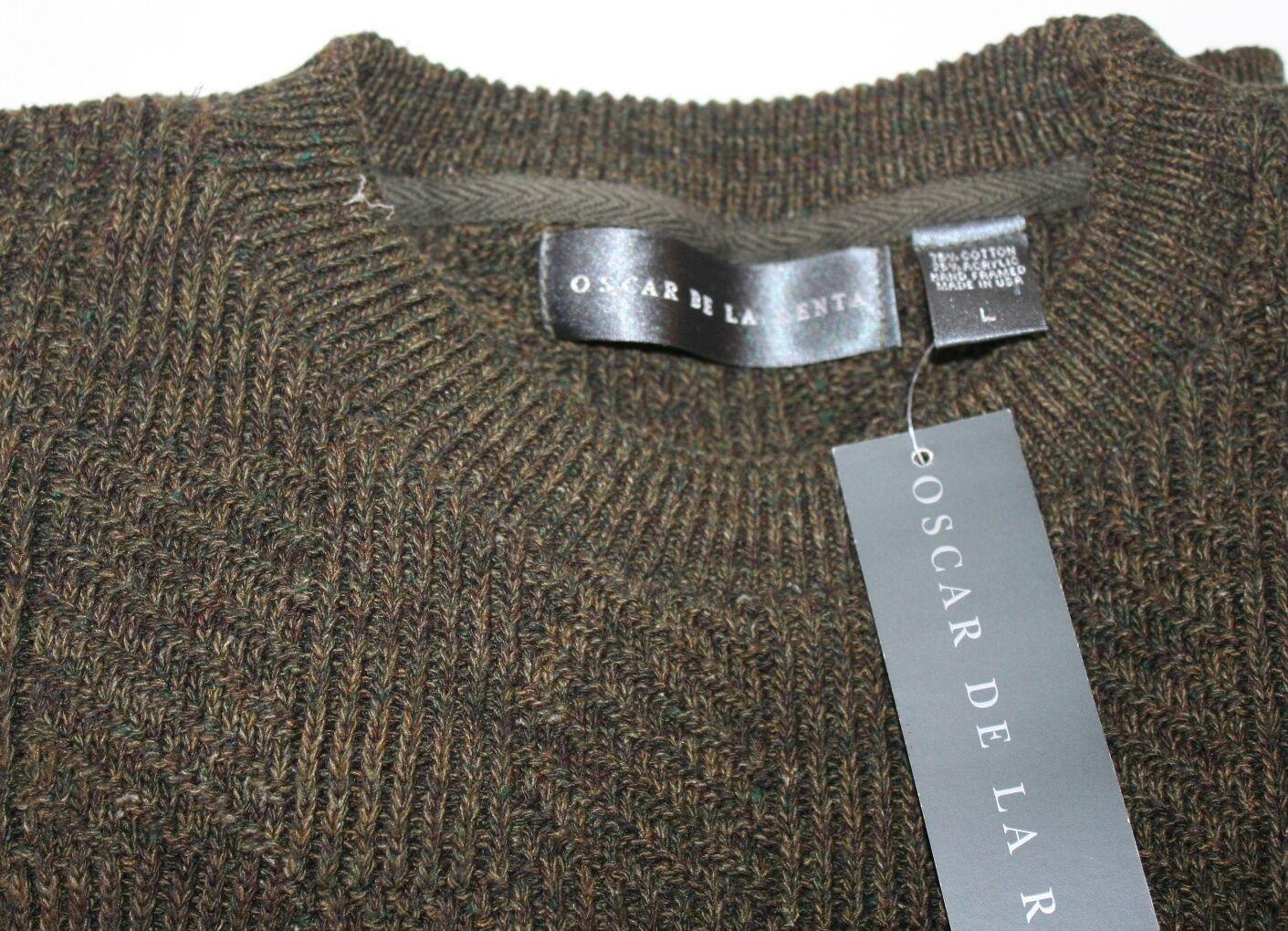 Oscar de la Renta Mens Knit Sweater Large Olive Grün Made USA Cotton NWT