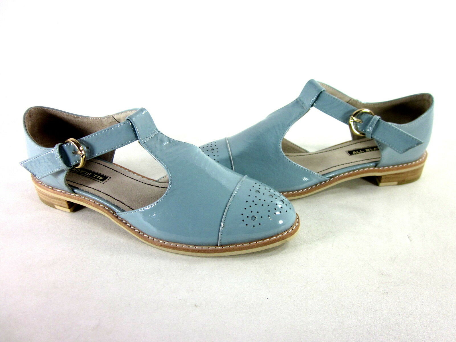 ALL BLACK WOMEN'S SANDAL OX OXFORD SANDAL LT Blau KID LEATHER EUR SZ 37 MEDIUM