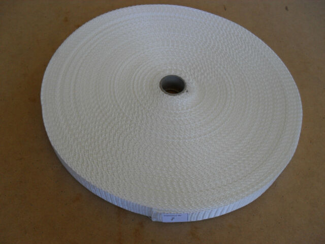 INDUSTRIAL POLYPROPOLENE WEBBING WHITE 50 MTR ROLL 25MM 1 INCH