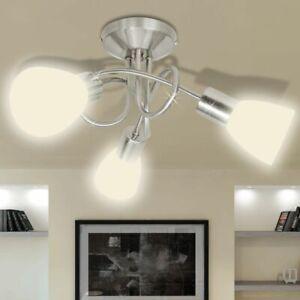 Gris vidaXL Cristal Techo 3 y de Moderna E14 Detalles Tulipas Metal Lámpara de Blanca con mv0NnOw8