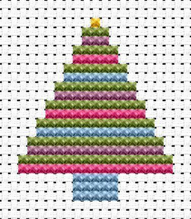 Fat Cat Cross Stitch Kit-Easy Peasy Árbol De Navidad