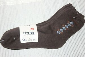 NWT-HANES-Brown-Men-039-s-Socks-2-Pairs-Size-22-24-cm