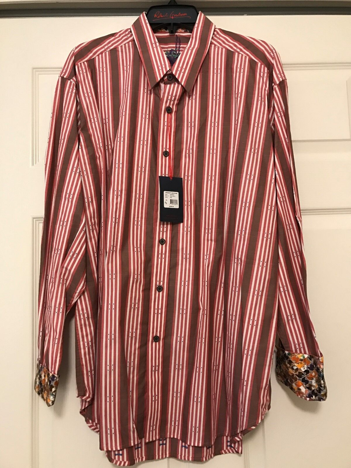 Robert Graham Striped Embroidered NEW with Tags Mens Long Sleeve NWT XL Norman