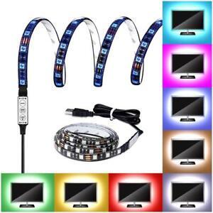 STRISCIA-LED-RGB-5050-SMD-STRIP-per-TV-USB-1m-2m-INTERNO-STRIP-LUCE-MULTICOLORE