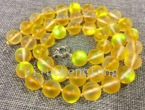 "12mm Yellow Gleamy Rainbow Moonstone Round Gems Necklace 16-36/"""