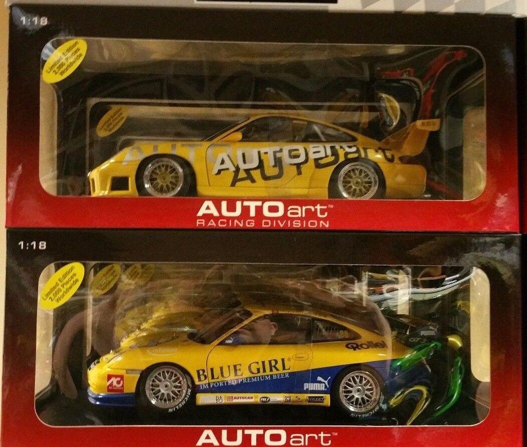 Lot de 2 PORSCHE 911 GT3 RSR Carrera Cup coureurs par Autoart 1 18 80675 & 80574
