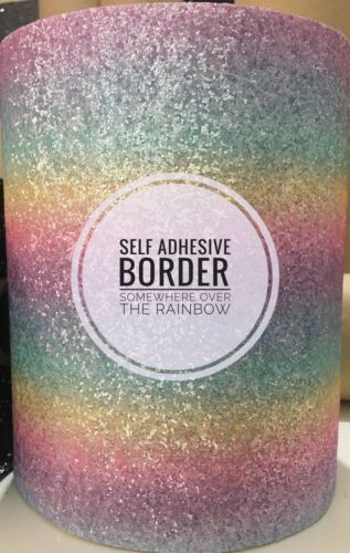 SOLD BY THE METRE Rainbow 3d Glitter Wall Fabric//wallpaper SELF ADHESIVE BORDER