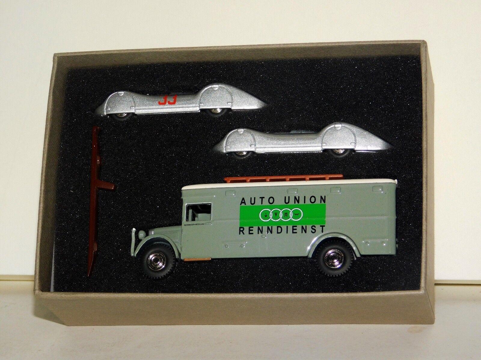 AUTO UNION NAG BUSSING TRANSPORTER  & 2 AUTO UNIONS STROMLINE 1937 BUB 6937 1 87
