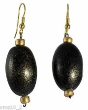 Dark Brown & Gold Colour Wooden Earrings CJE861