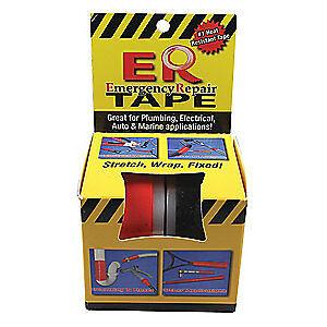 L ER TAPE-2PK Black//Red W,144 In ER TA Silicone Rubber Self Fusing Tape,1 In