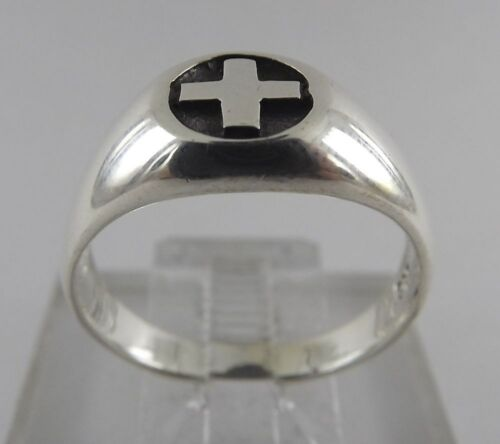 Sterling Silver 925 Swiss Cross High Polish Dome Top Ring Size 10 1//4