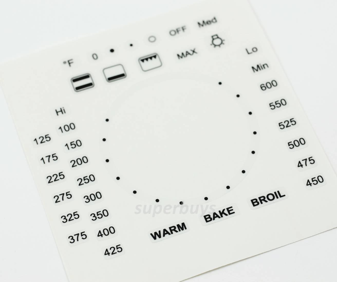 Fahrenheit 39pc Custom Oven Temperature Symbols Adhesive Knob Sticker Label Text